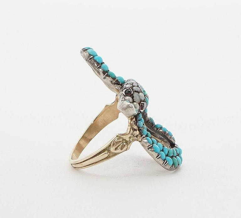 Exceptional Victorian Turquoise Pearl Ruby Gold Snake Ring 4