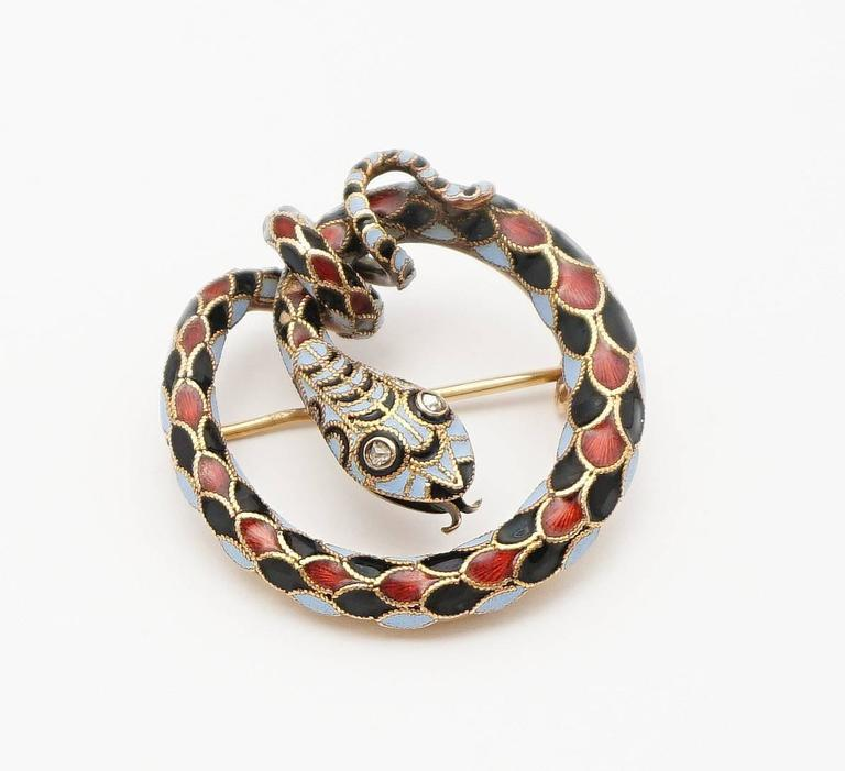 Dramatic Victorian Diamond Enameled Snake Brooch 2