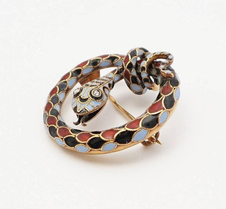 Dramatic Victorian Diamond Enameled Snake Brooch 4