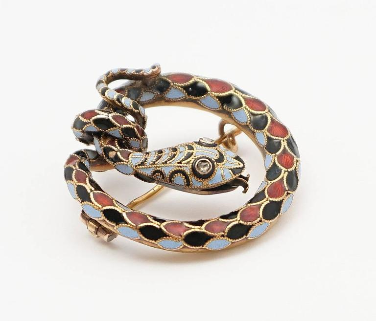 Dramatic Victorian Diamond Enameled Snake Brooch 3