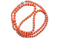 Art Deco Coral Rock Crystal Diamond Clasp Necklace