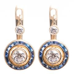 Striking 1.72 Carat French Cut Sapphire Diamond Gold Earrings
