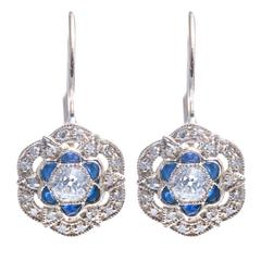 Sparkling Diamond and Sapphire Flower Earrings in White Gold