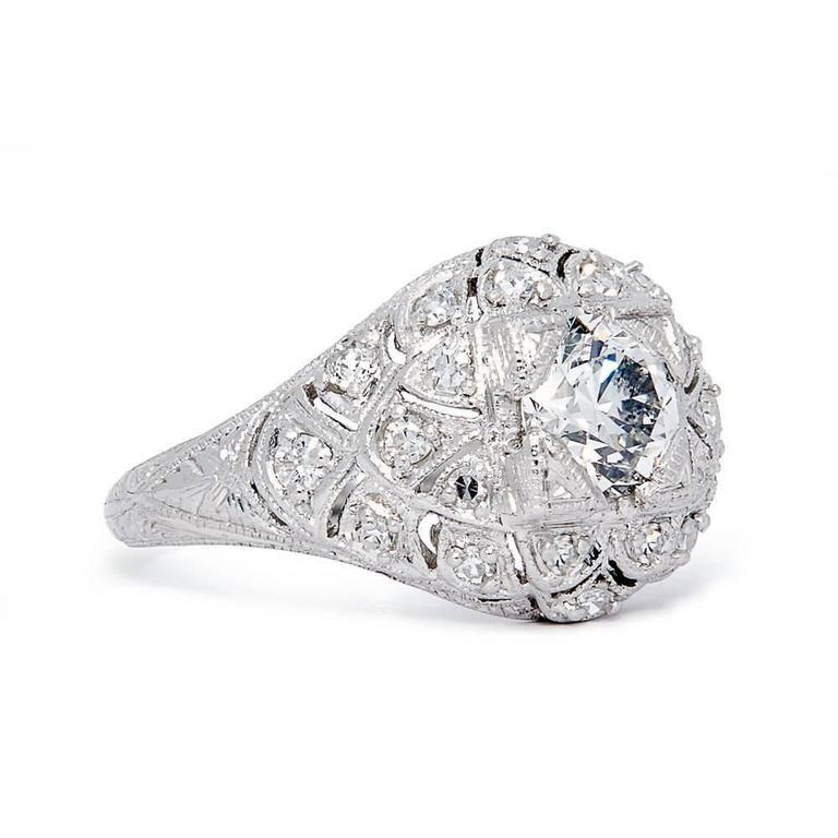 Spectacular Edwardian GIA Certified Diamond Platinum Engagement Ring 2