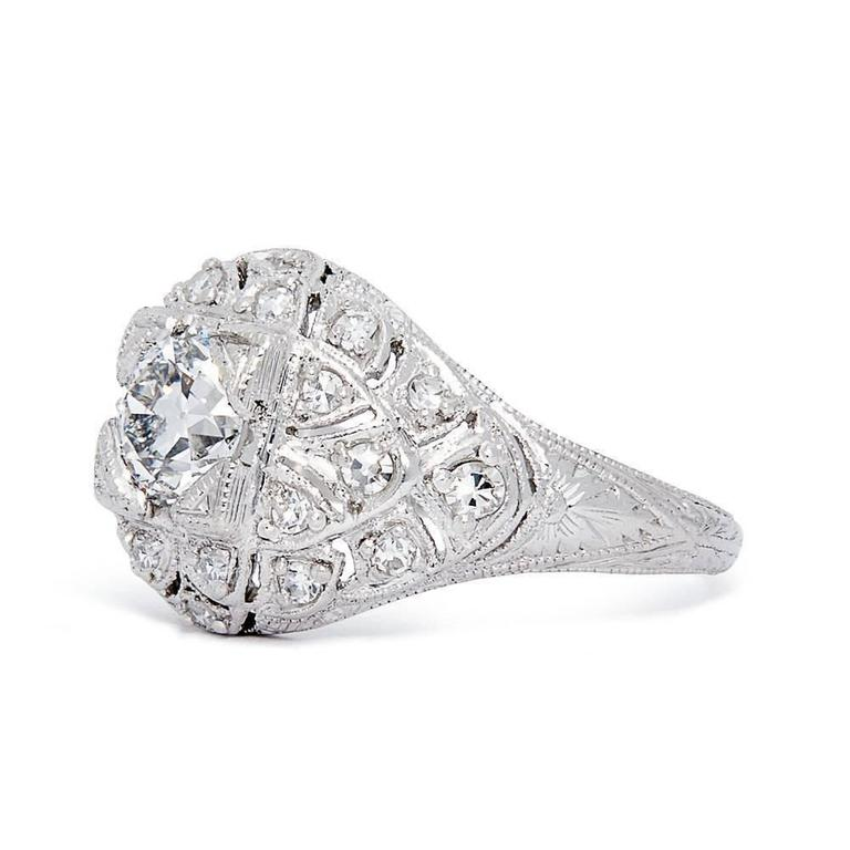 Spectacular Edwardian GIA Certified Diamond Platinum Engagement Ring 3