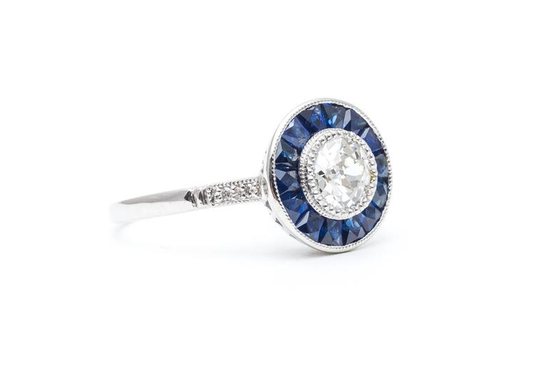 Vivid Blue French Cut Sapphire and Diamond Target Ring in Platinum 3