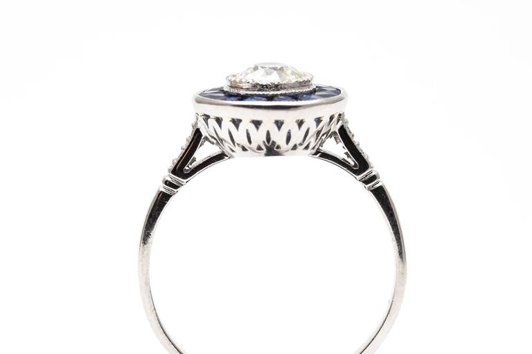 Vivid Blue French Cut Sapphire and Diamond Target Ring in Platinum 6