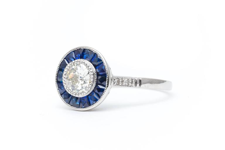 Vivid Blue French Cut Sapphire and Diamond Target Ring in Platinum 4