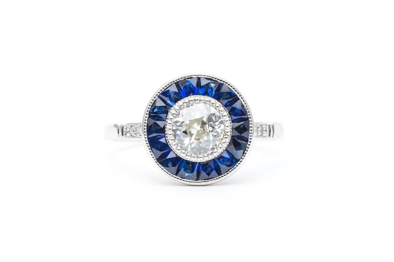Vivid Blue French Cut Sapphire and Diamond Target Ring in Platinum 2