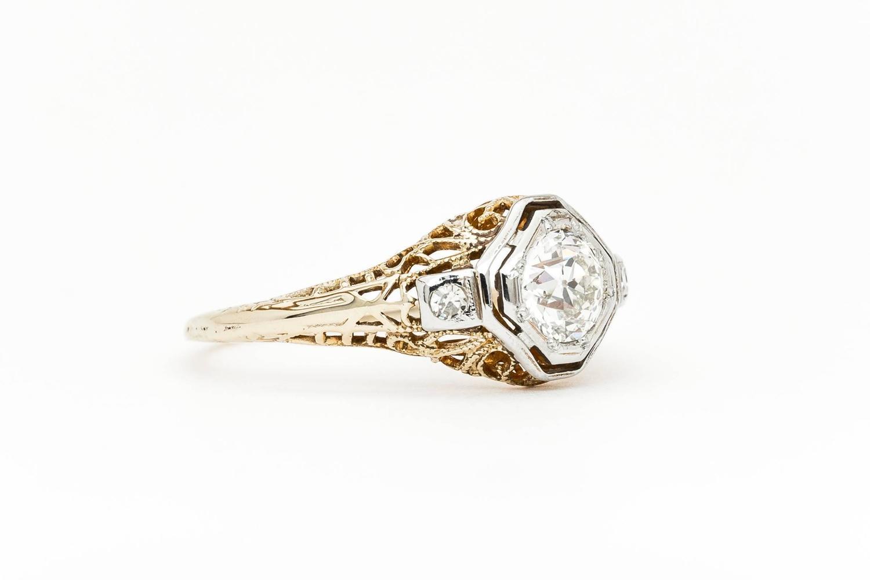 edwardian 056 carat diamond gold platinum filigree