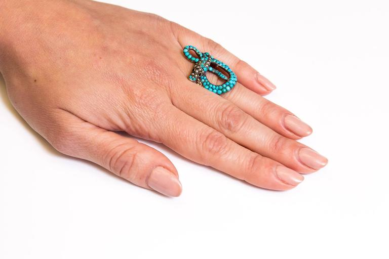 Exceptional Victorian Turquoise Pearl Ruby Gold Snake Ring 6