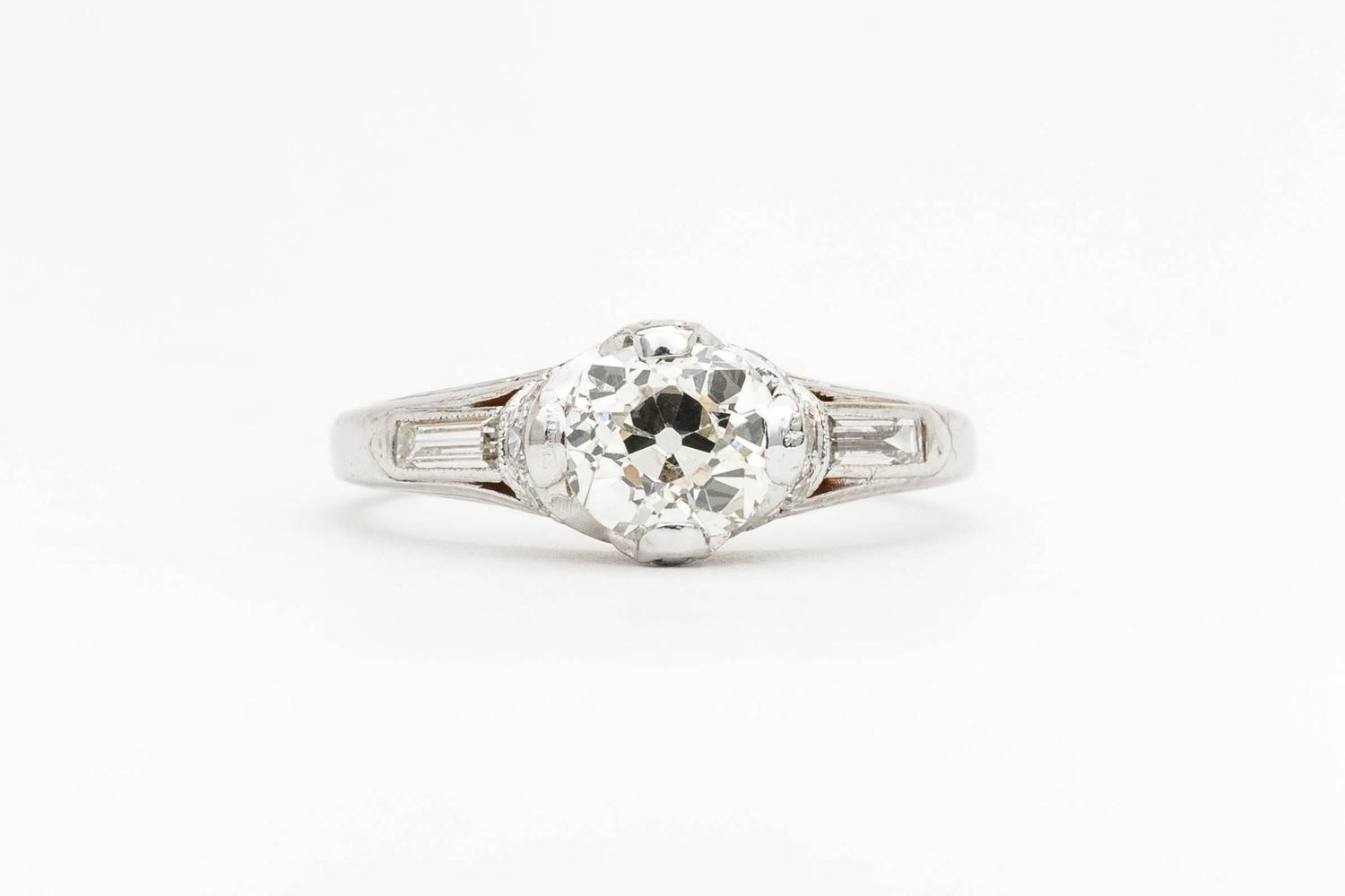 Art Nouveau 1 12ct Diamond Engagement Ring in Platinum For Sale at 1stdibs