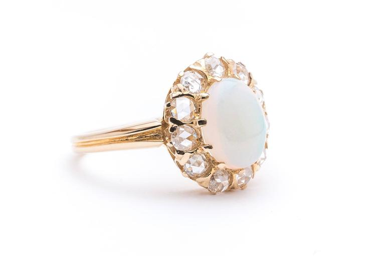 Victorian Opal Rose Cut Diamond Ring 3