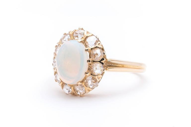Victorian Opal Rose Cut Diamond Ring 4