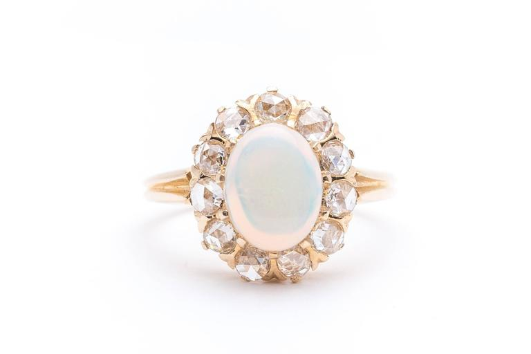 Victorian Opal Rose Cut Diamond Ring 2