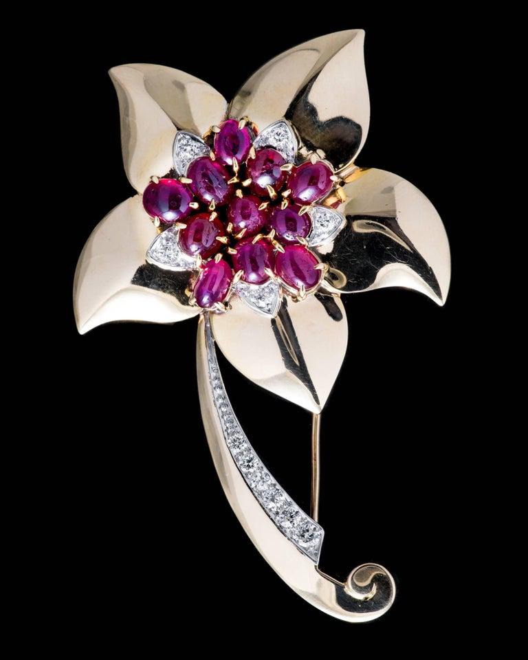 Marcus & Co Retro Ruby Diamond Flower Brooch 3