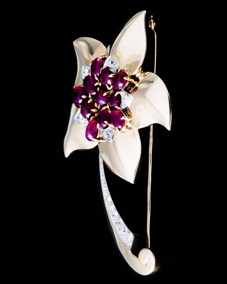 Marcus & Co Retro Ruby Diamond Flower Brooch 5