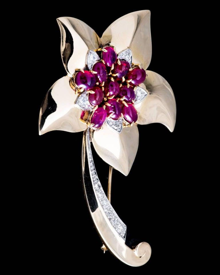 Marcus & Co Retro Ruby Diamond Flower Brooch 4