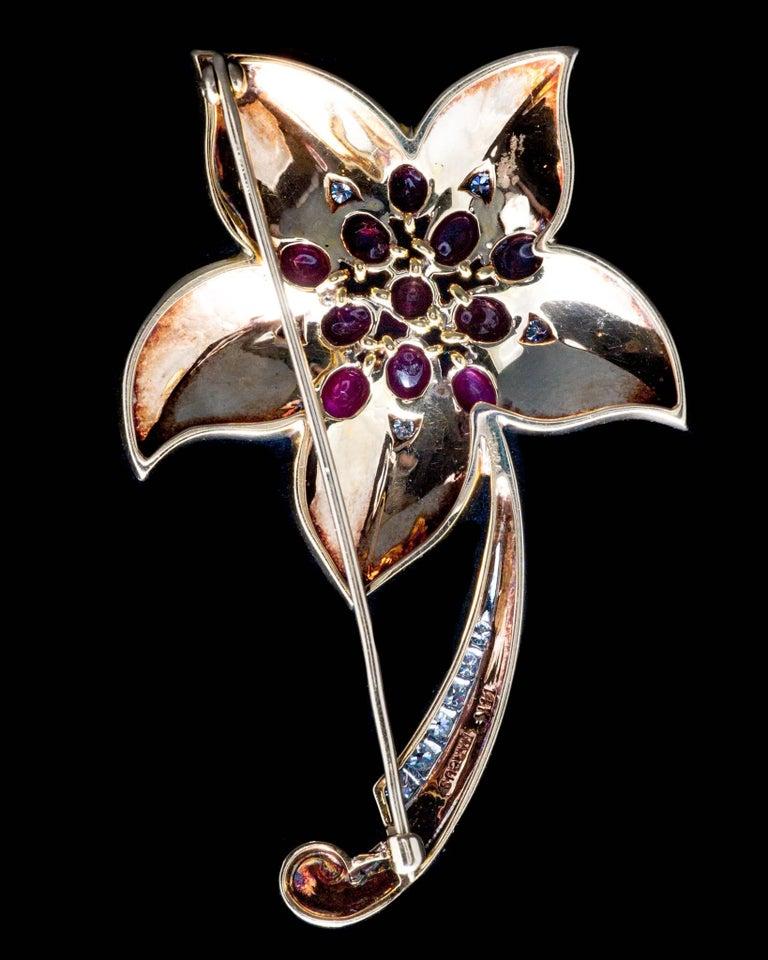 Marcus & Co Retro Ruby Diamond Flower Brooch 6
