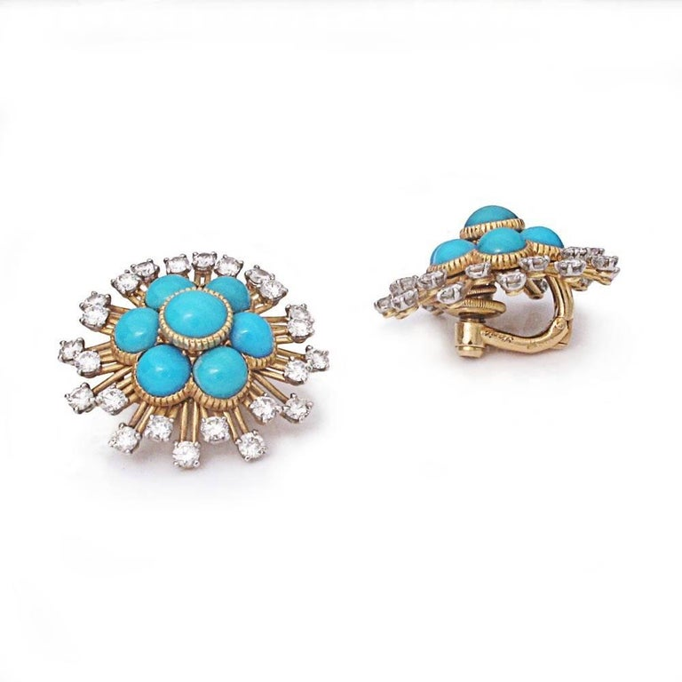 Cartier Turquoise and Diamond Cluster Earrings 2