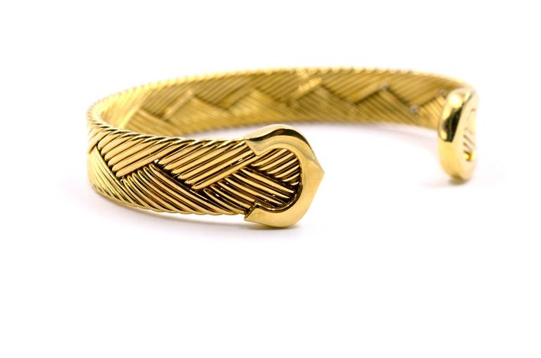 Cartier C De Cartier Weave Design Gold Bracelet at 1stdibs