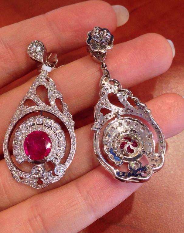 Women's AGL Cert No Heat Ruby Diamond Gold Drop Earrings  For Sale