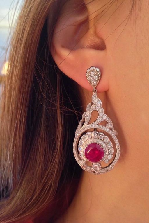 AGL Cert No Heat Ruby Diamond Gold Drop Earrings  For Sale 1