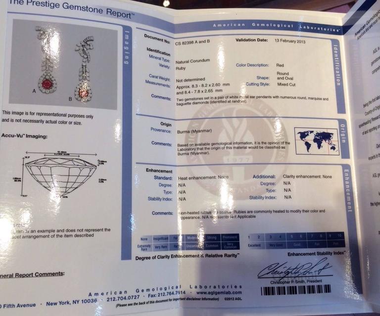 AGL Cert No Heat Ruby Diamond Gold Drop Earrings  In New Condition For Sale In La Jolla, CA