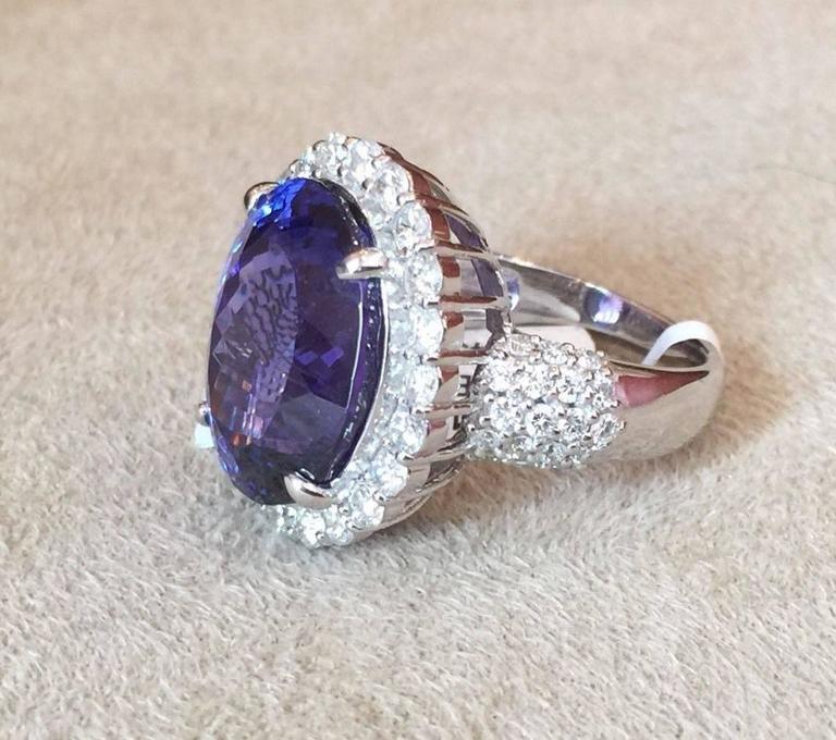 17.12 Carat Oval Tanzanite Diamond Platinum Halo Ring  2