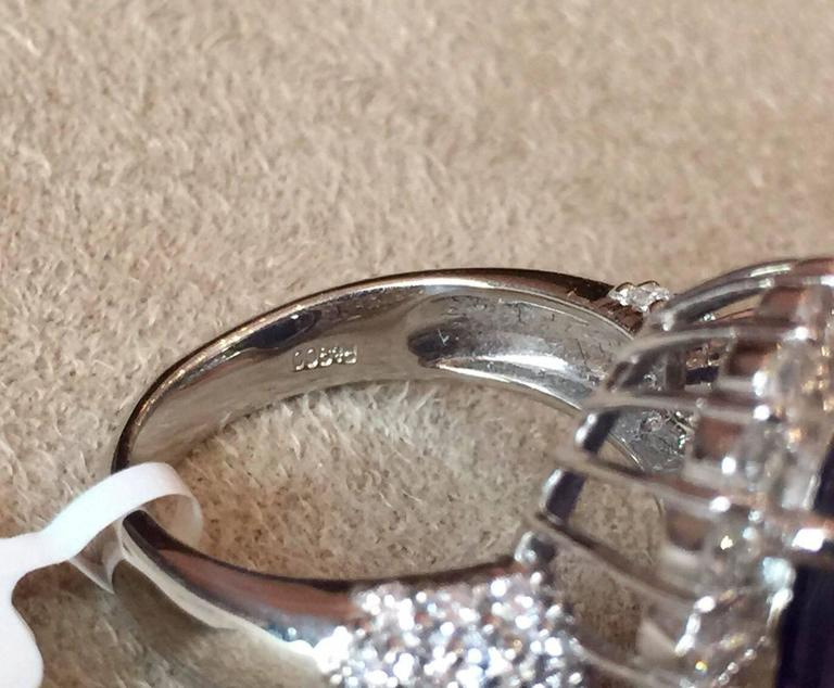 17.12 Carat Oval Tanzanite Diamond Platinum Halo Ring  4
