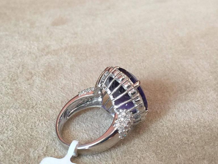 17.12 Carat Oval Tanzanite Diamond Platinum Halo Ring  6
