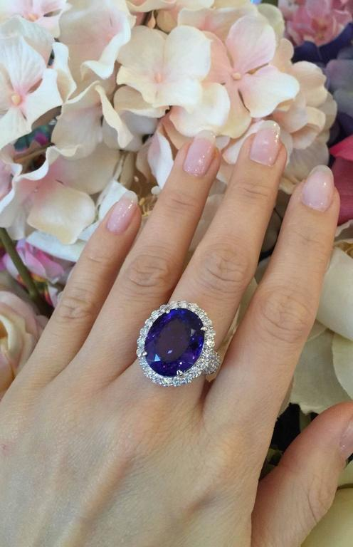 17.12 Carat Oval Tanzanite Diamond Platinum Halo Ring  3