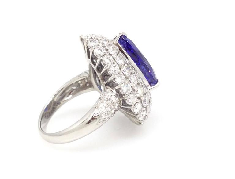 Pear Shaped Tanzanite Tiered Diamond Platinum Ring For Sale at 1stdibs