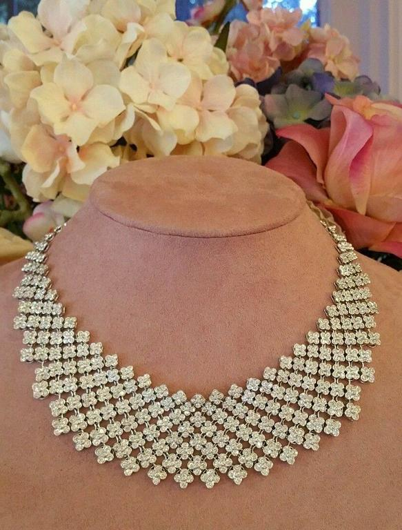 20 Carats Diamonds Gold Bib Collar Flower Necklace  2