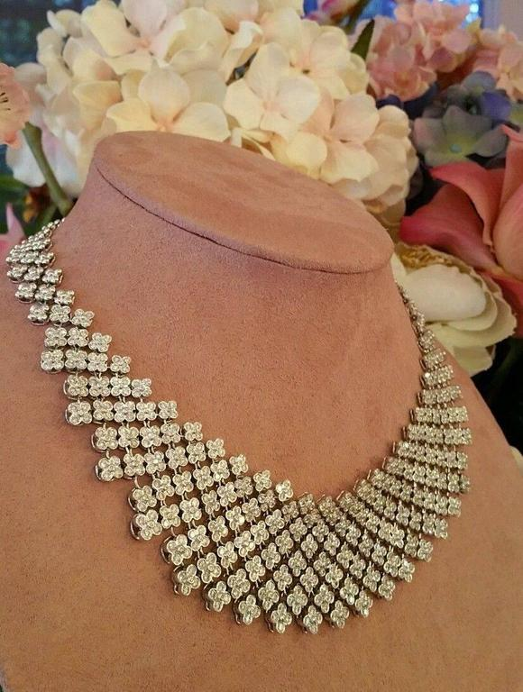 20 Carats Diamonds Gold Bib Collar Flower Necklace  6