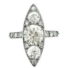 Edwardian Navette Shape Diamond Platinum Ring