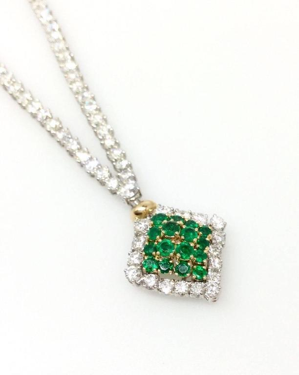 23.50 Carats Diamonds Emerald Gold Necklace  In Excellent Condition For Sale In La Jolla, CA