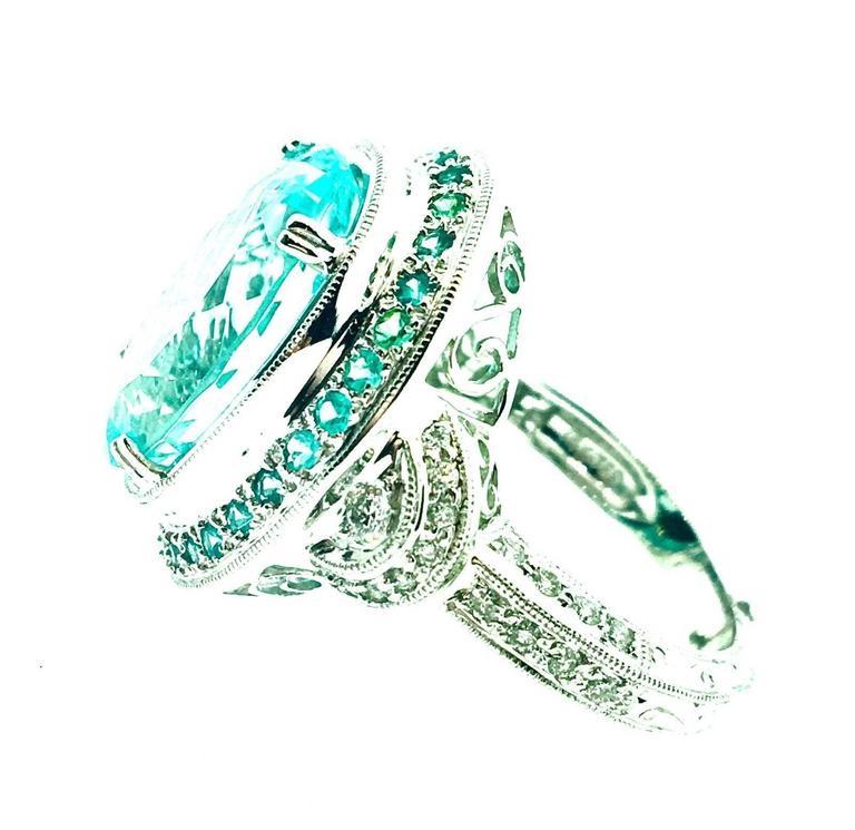 GIA Certified 8.67 Carat Paraiba Tourmaline Diamond Cocktail Ring  For Sale 1