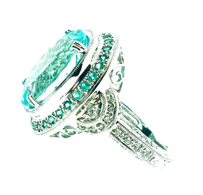 GIA Certified 8.67 Carat Paraiba Tourmaline Diamond Cocktail Ring  For Sale 3