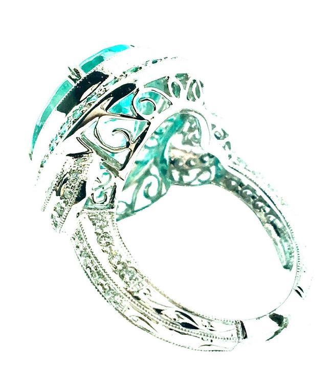 GIA Certified 8.67 Carat Paraiba Tourmaline Diamond Cocktail Ring  For Sale 2