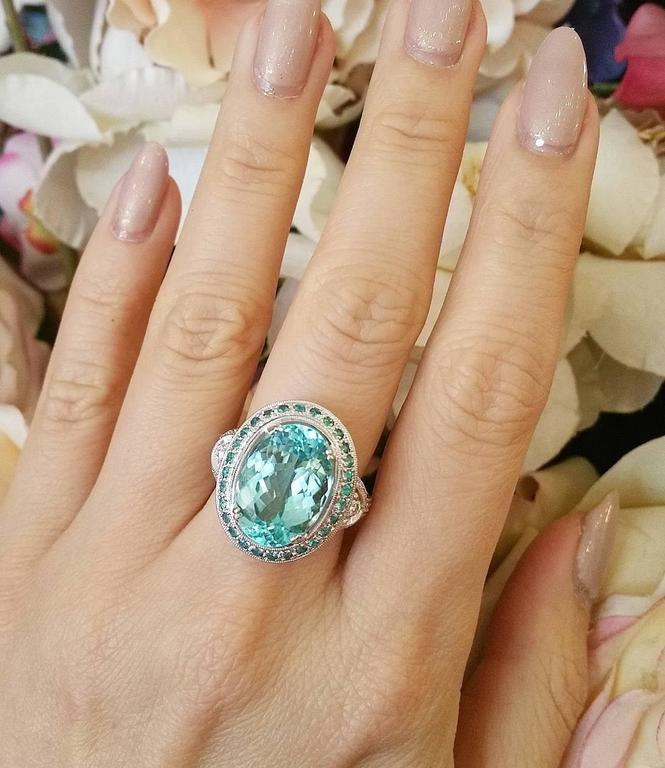 GIA Certified 8.67 Carat Paraiba Tourmaline Diamond Cocktail Ring  In New Condition For Sale In La Jolla, CA