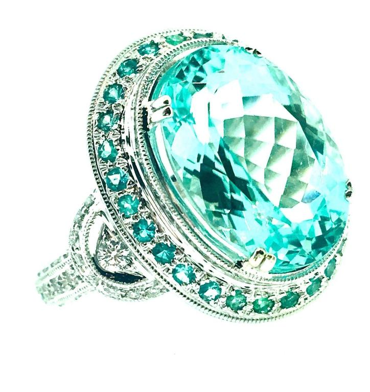 Women's GIA Certified 8.67 Carat Paraiba Tourmaline Diamond Cocktail Ring  For Sale