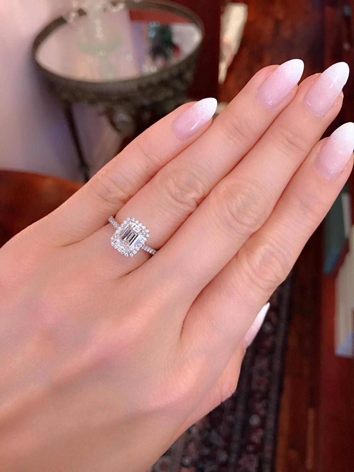 Tiffany and Co. Soleste 1.64 Carat Emerald Cut Diamond Platinum Ring ...