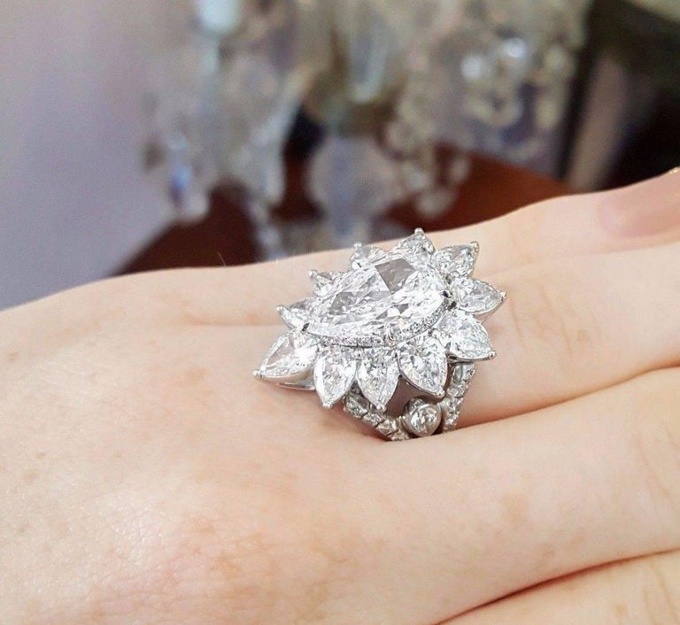 GIA Report 5 14 Carat Pear Shape Center Diamond Ring For Sale at 1stdibs