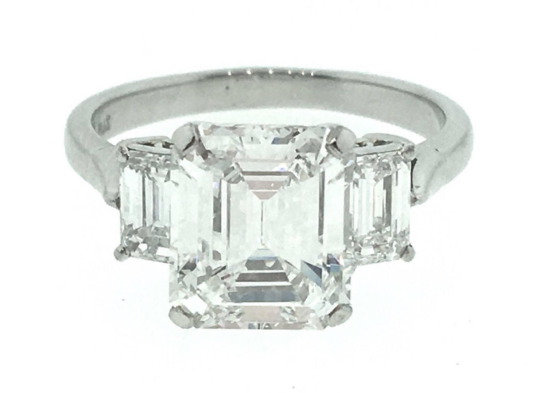 GIA Cert 3 62 Carat Emerald Cut Diamond Platinum 3 Stone Ring at 1stdibs
