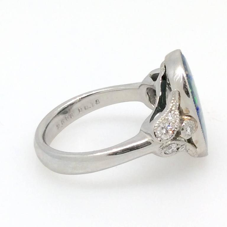 Black Opal Diamond Platinum Ring at 1stdibs
