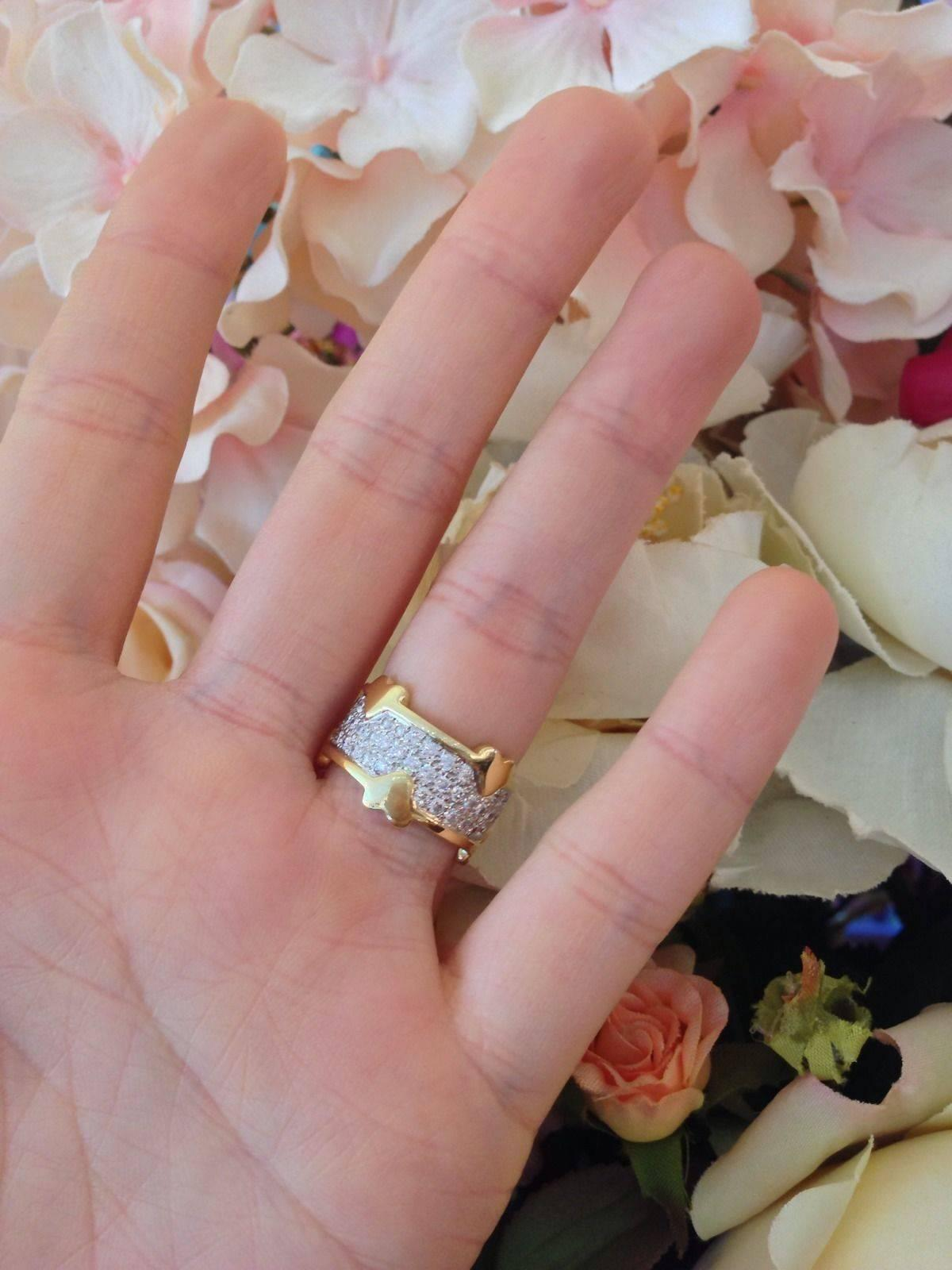 Tiffany and Co Schlumberger Pave Diamond Heart Band Ring For Sale at ...