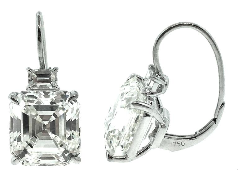 Simple Yet Elegant Square Emerald Cut Diamond Drop Earrings Set In 18k White Gold Topped