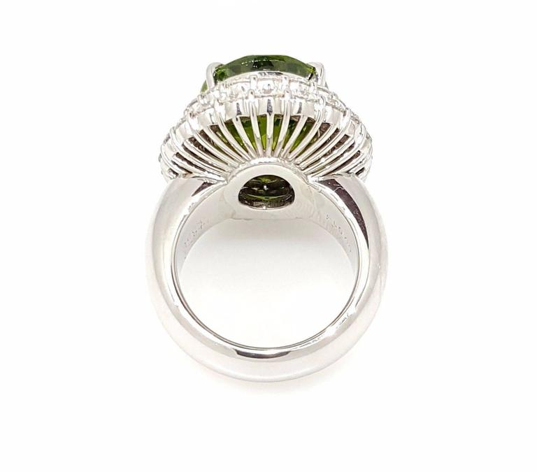 Large Oval Peridot Diamond Platinum Halo Ring For Sale 1