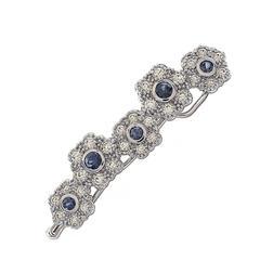 Diamond Sapphire and Gold Barrette